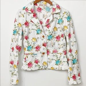 Johnny Was White Embroidered Floral Blazer